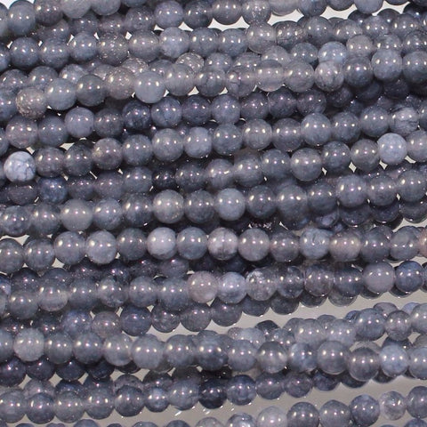 Jade Beads, Gray Blue, Dyed, 3 mm. Sku W10075 CLOSEOUTS! - Azillion Beads