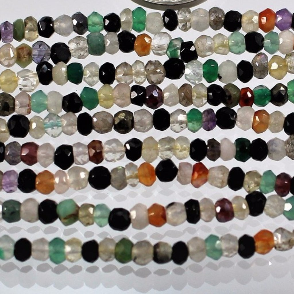 Gems, Mixed, Faceted 3 x 4mm, Rondelle Beads. Sku W11018 - Azillion Beads