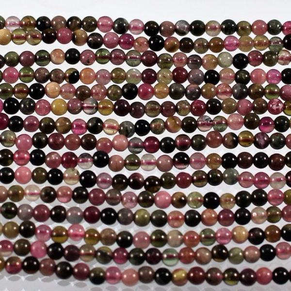 Tourmaline Round Beads. Sku W10468 CLOSEOUTS! - Azillion Beads