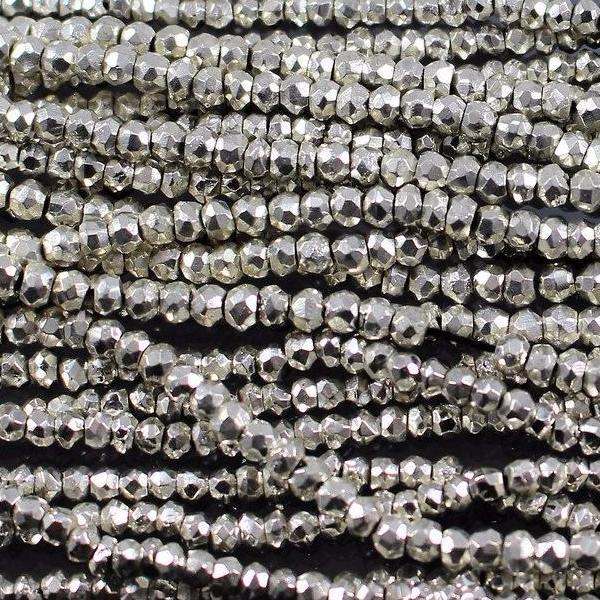 Pyrite, Coated Silver, 3.5 mm Faceted Round Beads. Sku 417 - Azillion Beads