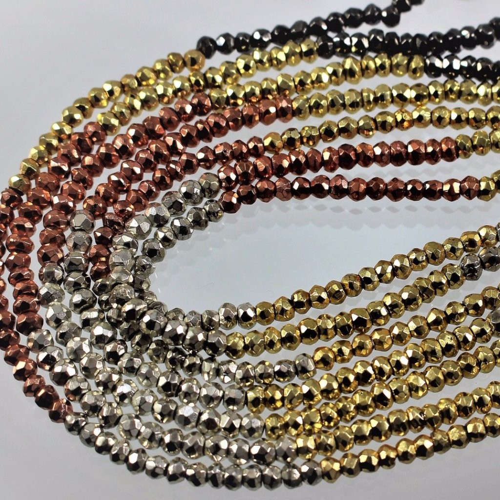 Pyrite, Multi-Metal Coated Beads. Sku 417 - Azillion Beads