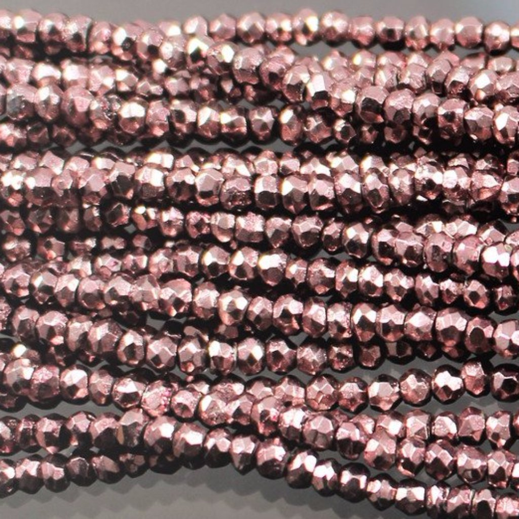 Pyrite, 4mm , Mauve Color Coated, Faceted, Rondelle Beads. Sku 418 - Azillion Beads
