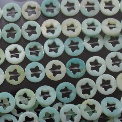 Amazonite Star Beads, 3 x 12mm, Flat Rounds. Sku W10652 CLOSEOUTS! - Azillion Beads