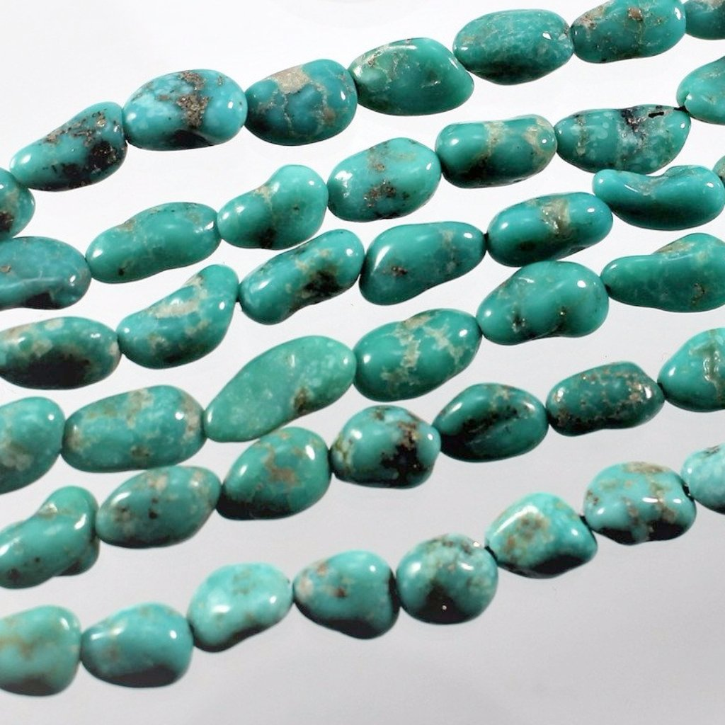 Turquoise, Campitos, Pebble Shaped Beads, Mexico. - Azillion Beads