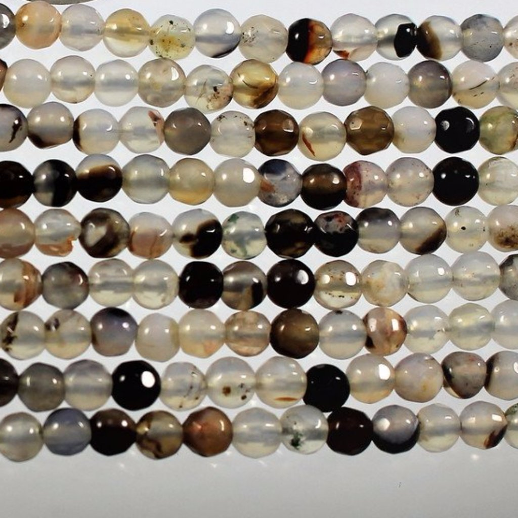 Agate Beads, Faceted, 4mm, Round, Mixed Earth Tones. Sku W10887 - Azillion Beads