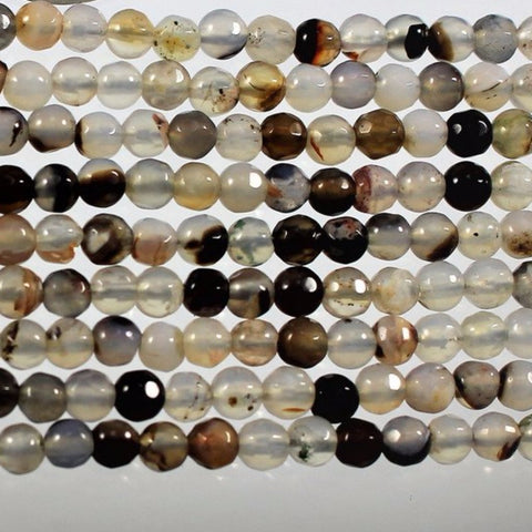 Agate Beads, Faceted Mixed Earth Tones  W1-0887