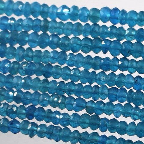 Apatite Beads, Neon Teal Color, Faceted Sku W10901 - Azillion Beads