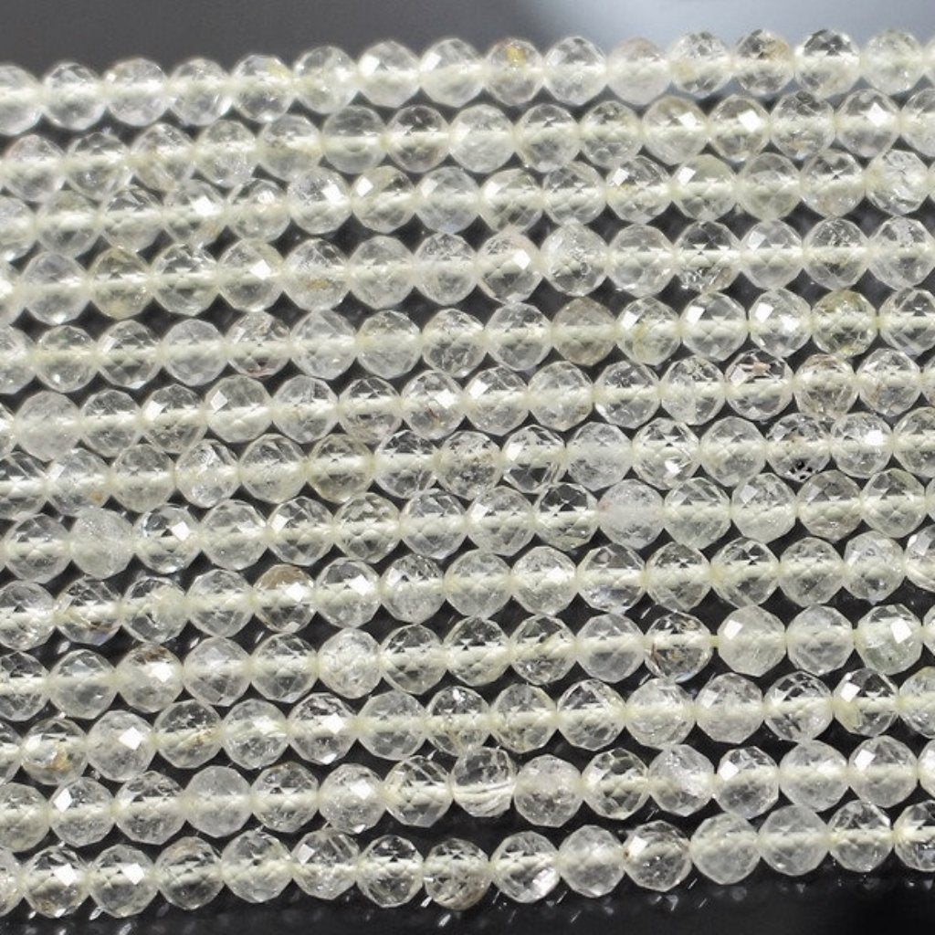 Lemon Quartz, 3.5mm Faceted Rounds. Sku W10917 CLOSEOUTS! - Azillion Beads