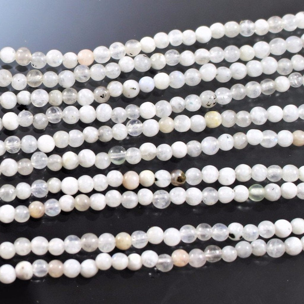 Moonstone, 3mm Rounds. Sku 364 - Azillion Beads