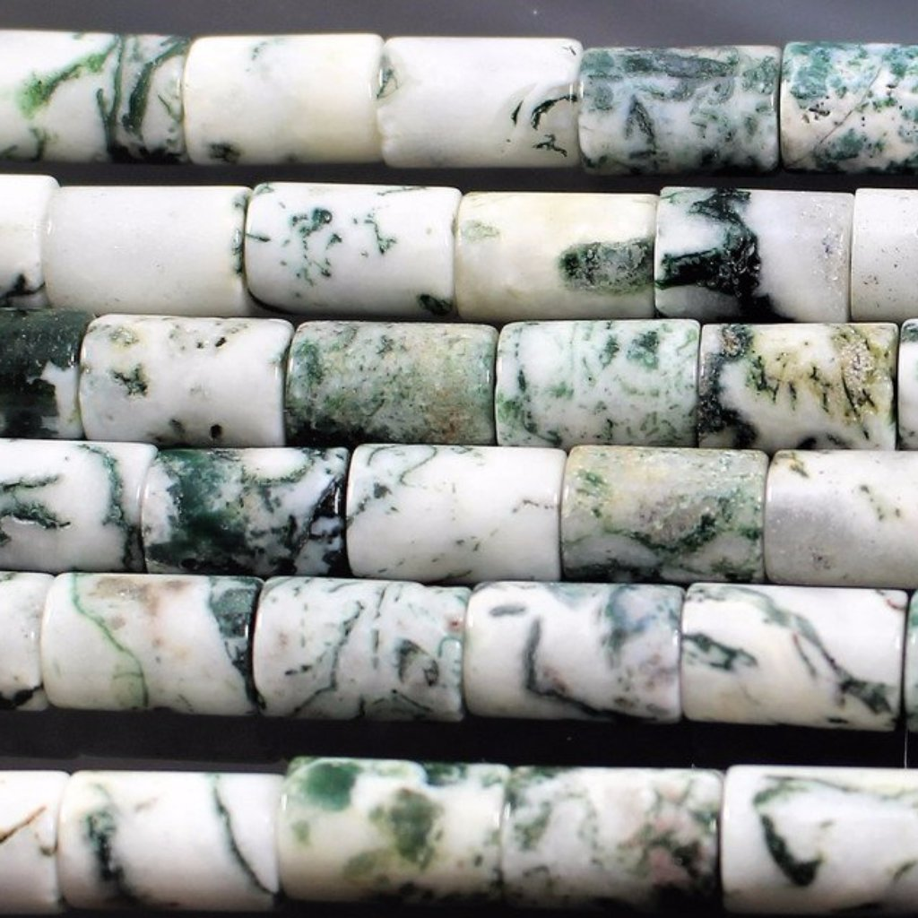 Tree Agate Tube Beads. Sku W10987 - Azillion Beads