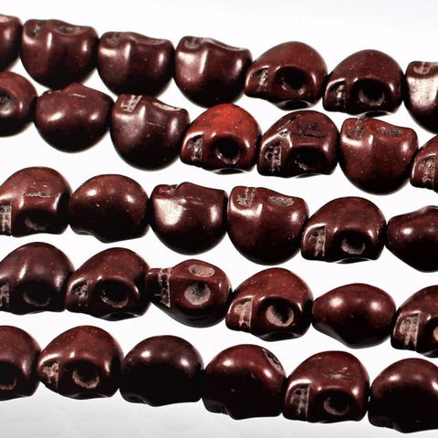 Magnesite Skull Beads, Brown. Sku W10929 CLOSEOUTS! - Azillion Beads