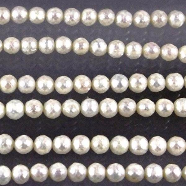 Fresh Water Pearl Beads, White, Round, Faceted. Sku W10205 CLOSEOUTS! - Azillion Beads
