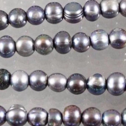 "Fresh Water Pearls, approx. 5mm Round & 8"" Strand - Azillion Beads"