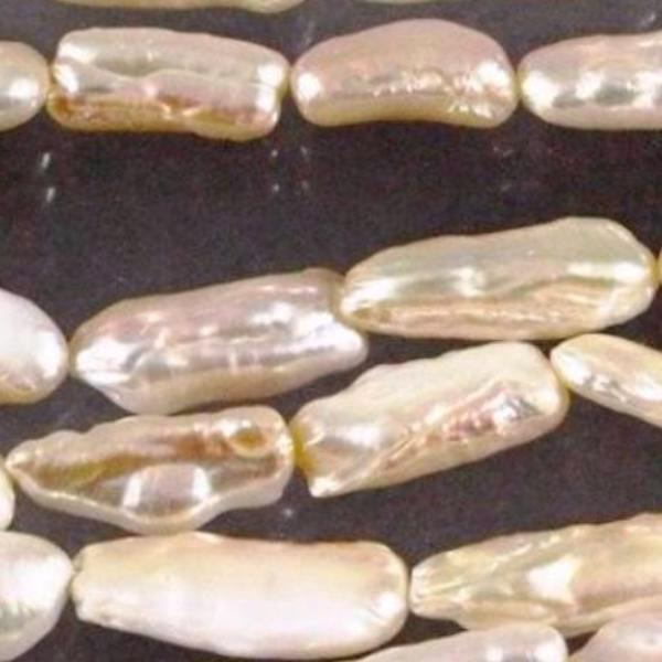 Fresh Water Pearl Beads, Natural Peach Stick Pearls. Sku W10188 CLOSEOUTS! - Azillion Beads