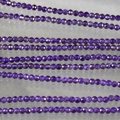 Amethyst, 3mm Faceted Round Beads, Deep Purple Sku W10687 - Azillion Beads