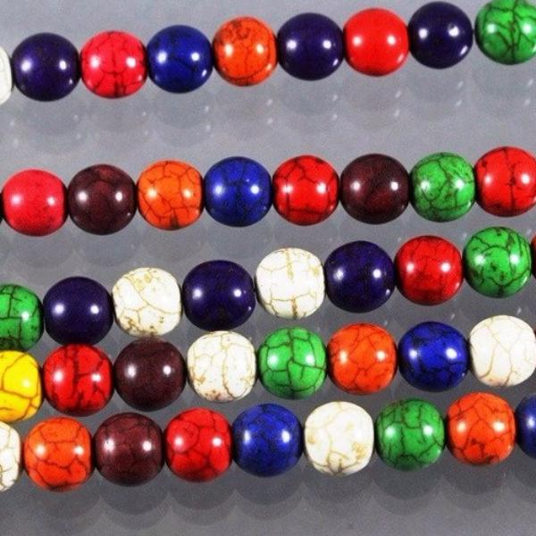 Magnesite Beads, 10 mm  Round, Multicolored. Sku W10154 CLOSEOUTS! - Azillion Beads