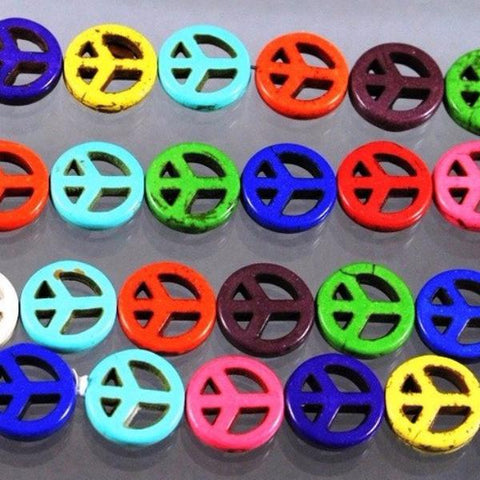 Magnesite Beads, Peace Sign, Multi-Colored. Sku W10134 CLOSEOUTS! - Azillion Beads