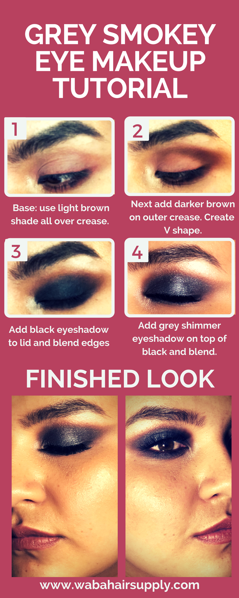 smokey eye makeup infographic by paulina sainz at wabahairsupply