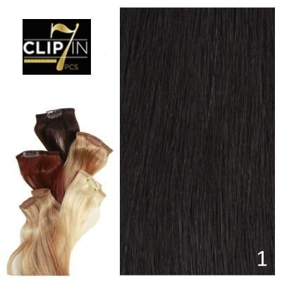 7 Piece Clip-In Black Diamond 100% Remy Human Hair Extensions By Bohyme - Waba Hair and Beauty Supply