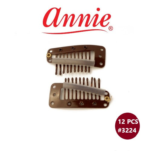 12 PCS Wig Clips #3224 Brown Hair Extensions Clip Ins by Annie Inc - Waba Hair and Beauty Supply