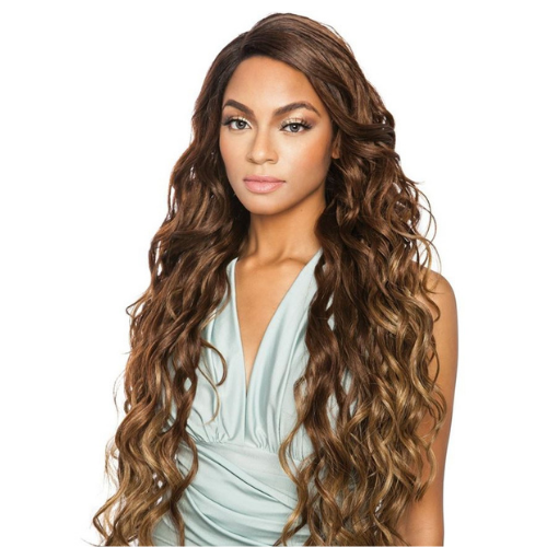 "Brown Sugar 298 - BS298 - 32"" Super Long Brown Sugar Human Hair StyleMix Lace Front Wig By Mane Concept"