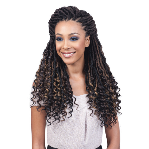 "18"" Nu Locs Curly Tips African Roots Synthetic Crochet Braid Hair By Bobbi Boss - Waba Hair and Beauty Supply"