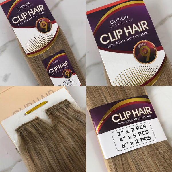 CLIP - 9 PIECE CLIP-IN EXTENSIONS 100% REMY HUMAN HAIR BY JAZZ WAVE