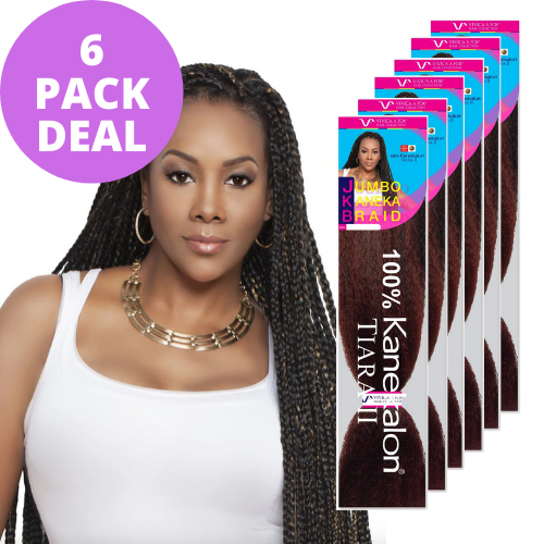 "6 Pack Bundle Deal 45"" Jumbo Braid 100% Kanekalon Fiber JKB-V Crochet Braiding Hair By Vivica A. Fox"