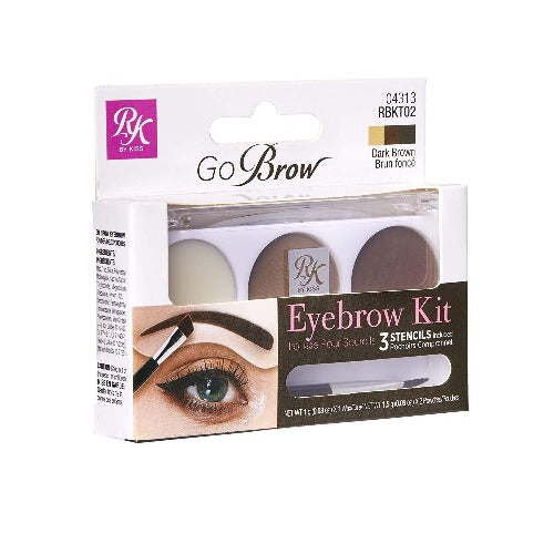 Ruby Kisses GoBrow Eyebrow Kit with Stencil (Dark Brown) - RBKT02 - By Kiss - Waba Hair and Beauty Supply