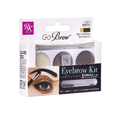 Ruby Kisses GoBrow Eyebrow Kit with Stencil (Black Dark Brown) - RBKT01 - By Kiss - Waba Hair and Beauty Supply