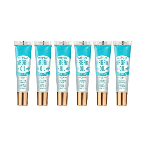 [ 6 PC ] SET of Argan Oil Broadway Vita-Lip Clear Lip Gloss 0.47oz/14ml by Kiss - Waba Hair and Beauty Supply