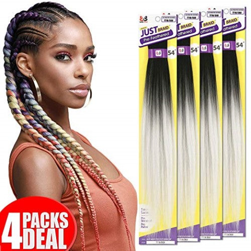 "4 Pack Bundle of Just Braid 54"" Pre-Feathered Braid Synthetic Crochet Hair By Bobbi Boss - Waba Hair and Beauty Supply"