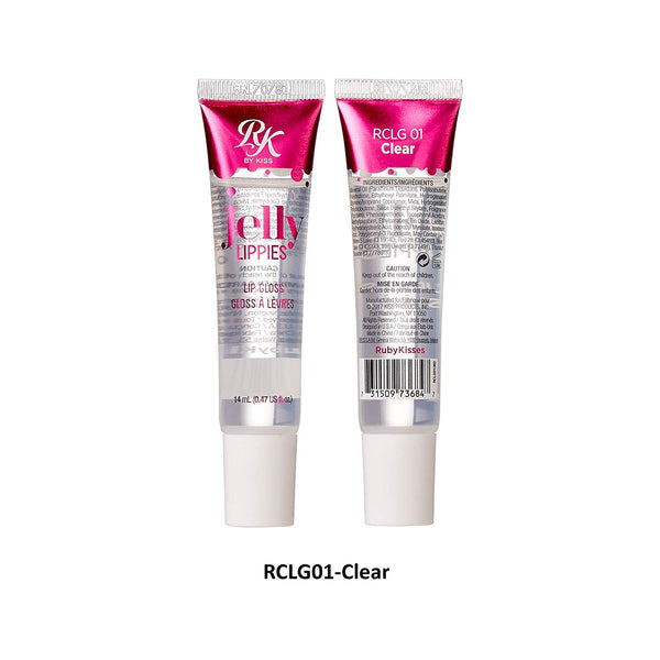 [ 3 & 6 PACK ] Jelly Lippies Lip Gloss 14mL /0.47 fl.oz. (RMLG01- Clear) by Ruby Kiss - Waba Hair and Beauty Supply
