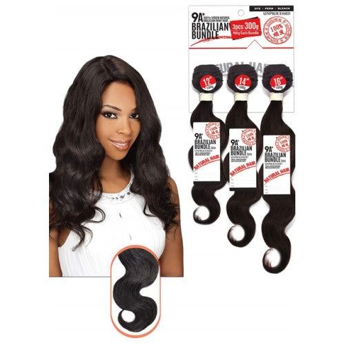 "10""-26"" 3 Piece 9A Grade 100% Unprocessed Virgin Brazilian Remy BODY WAVE Bundle Hair by Eve Hair - Waba Hair and Beauty Supply"