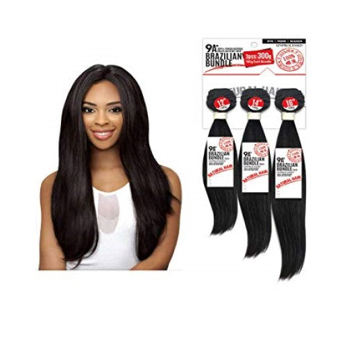 "10""-26"" 3 Piece 9A Grade 100% Unprocessed Virgin Brazilian Remy Straight Bundle Hair by Eve Hair - Waba Hair and Beauty Supply"