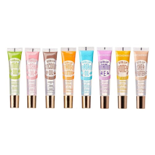 [8 PIECE] SET Mint, Coconut, Rosehip, Mango Butter, Argan Oil Broadway Vita-Lip Clear Lip Gloss 0.47oz/14ml by Kiss