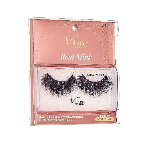 V-Luxe I Envy - VLEC08 Champagne Pink - 100% Virgin Remy Real Mink Lashes By Kiss - Waba Hair and Beauty Supply