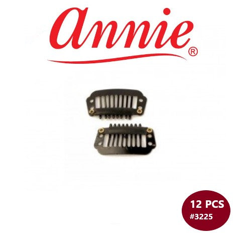 12 PCS Wig Clips #3225 Black Hair Extensions Clip Ins by Annie Inc - Waba Hair and Beauty Supply