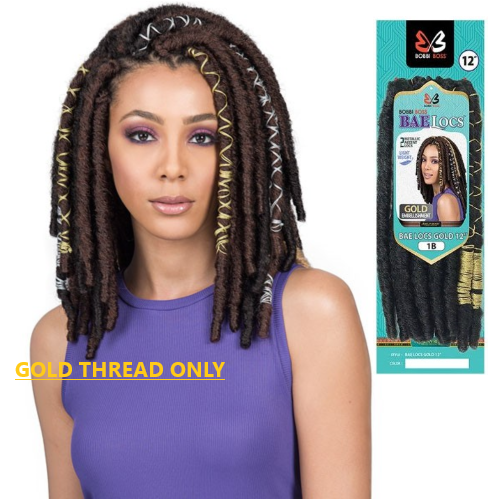 "12"" Bae Locs Gold Accent Crochet Braid Hair By Bobbi Boss - Waba Hair and Beauty Supply"