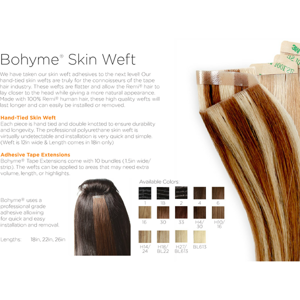 "'Tape in Extensions'-1.5"" ADHESIVE SKIN WEFT by BOHYME® 100% Remy Human Hair - Waba Hair and Beauty Supply"