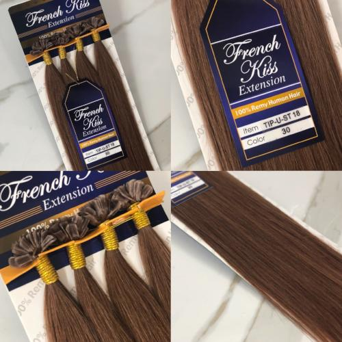 "French Kiss U-Tip Keratin Hot Fusion 18"" 100% Remi Human Hair Extensions - Straight - Waba Hair and Beauty Supply"