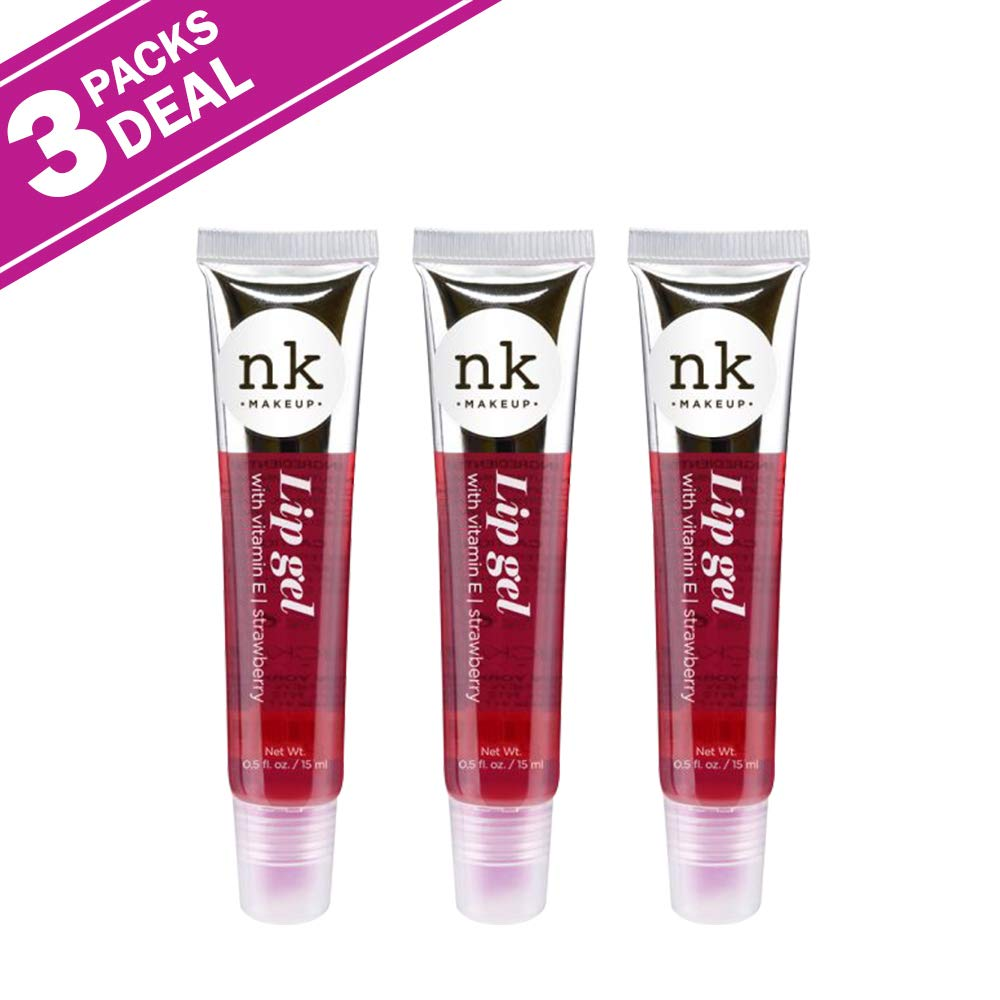 [ 3 & 6 Pack ] Lip Gel Gloss Strawberry By NICKA K New York - Waba Hair and Beauty Supply