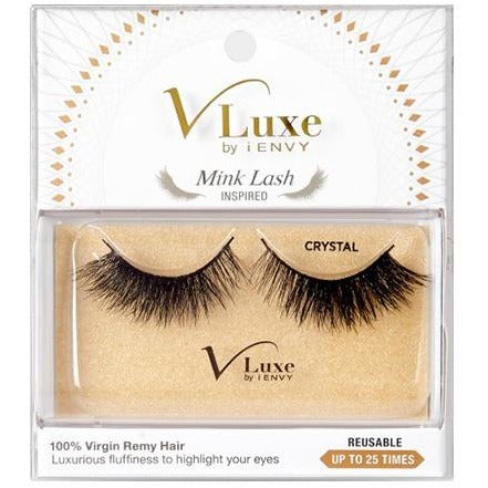 V-LUXE I ENVY - VLEF02 CRYSTAL - MINK LASH INSPIRED 100% VIRGIN REMY TAPERED END STRIP EYELASHES BY KISS
