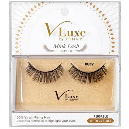 V-LUXE I ENVY - VLEF05 RUBY - MINK LASH INSPIRED 100% VIRGIN REMY TAPERED END STRIP EYELASHES BY KISS