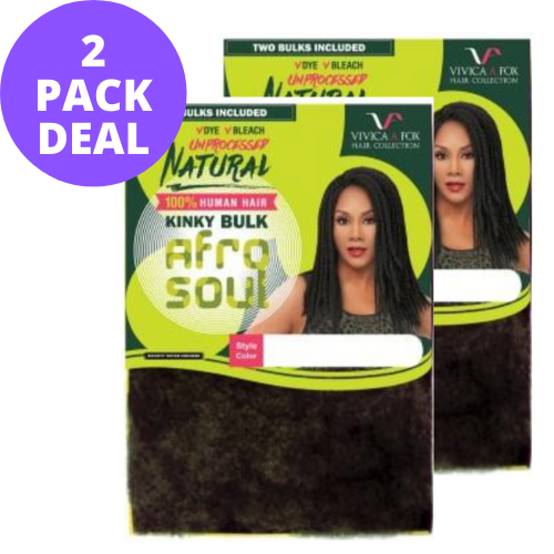 "[2 PACK BUNDLE DEAL] 16"" Natural Kinky Bulk Afro Curl 100% Unprocessed Human Braid Hair HKBK16-N by Vivica A. Fox"