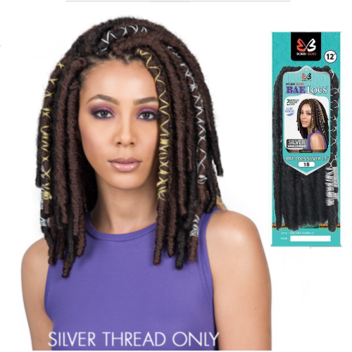 "12"" Bae Locs Silver Accent Crochet Braid Hair By Bobbi Boss - Waba Hair and Beauty Supply"