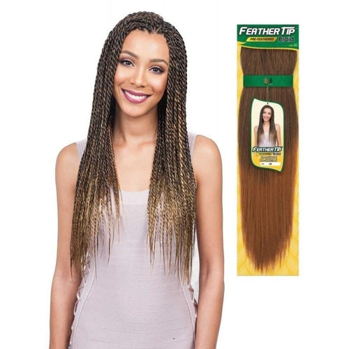 Feather Tip 54 Braid Synthetic Pre Feathered Crochet Hair By Bobbi