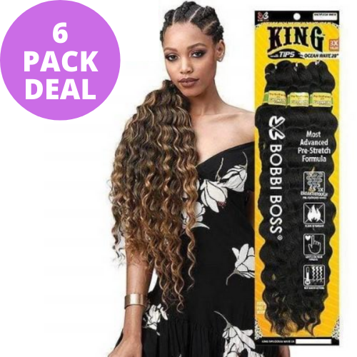 "[6 PACK BUNDLE DEAL] King Braid Tips Ocean Wave 28"" 3X Braid Crochet Hair by Bobbi Boss"