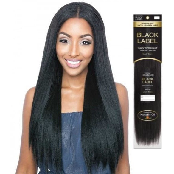 Black Label Keratin Infused Yaki 100 Human Weave Hair New Born