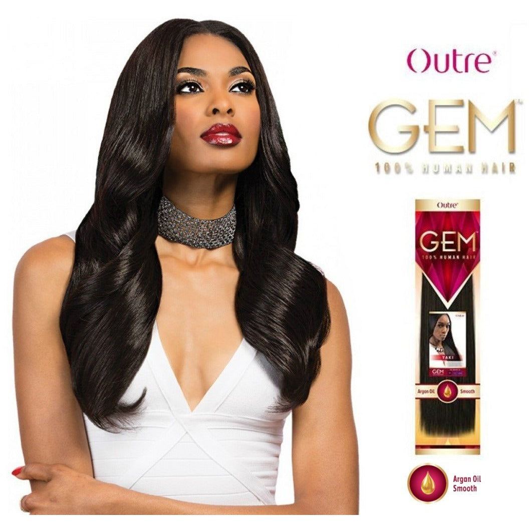 Gem Argan Infused Yaki 100 Human Weave Hair Extensions By Outre